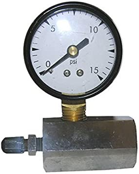 LASCO 13-1891 Metal Gas Test Gauge 15 PSI with Adapter to 3//4-Inch Pipe