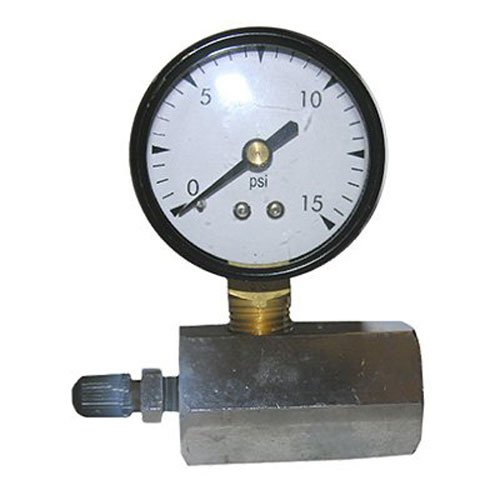 LASCO 13-1891 Metal Gas Test Gauge 15 PSI with Adapter to 3/4-Inch Pipe
