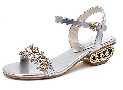sandalias de verano sandalias de tacón bajo de diamantes de imitación de las mujeres sandalias planas y zapatillas, grueso con zapatos abiertos Sra. plata