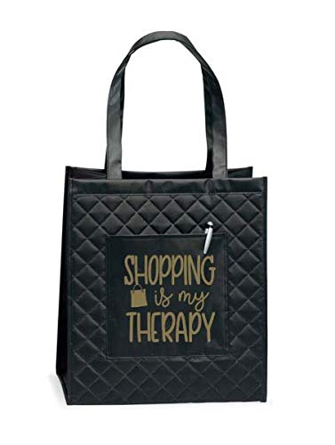 Tote Bag for Women - Large Shopping Bags - Women Travel Totes - Great gift for her, wife, sister, mom, coworkers and more (Shopping Is My Therapy Quilted Black Tote)