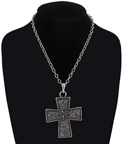 Antiqued Silver Tone Large Cross Scrollwork Pendant Necklace Costume Accessory Necklace For Women
