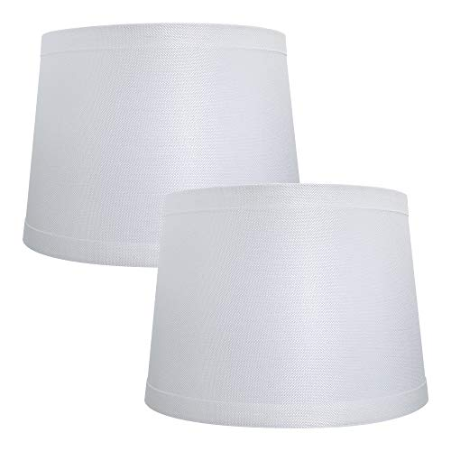 Double Medium Off White Lamp Shades Set of 2, Alucset Drum Fabric Lampshades for Table Lamp and Floor Light,10x12x8 inch,Natural Linen Hand Crafted,Spider, 2pcs Pack (White) (Drum Shades Lamp)