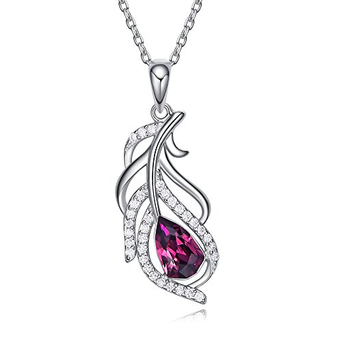 CDE Necklaces for Women Feather Crystal Pendants Silver Necklace Swarovski Fashion Jewelry Gifts for Girls Mother