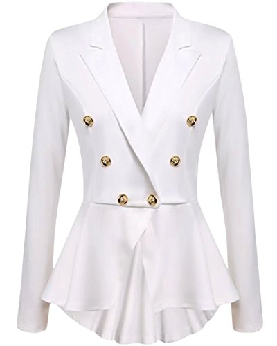 (NAWONGSKY Women's Long Sleeve Ruffle Peplum One Button Crop Frill Blazer Jacket, White, Tag L = US (4-6))