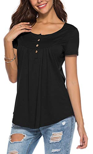 PinUp Angel Black Peasant Blouse for Women Fashion 2018 Short Sleeve Casual Tunic V Neck Top