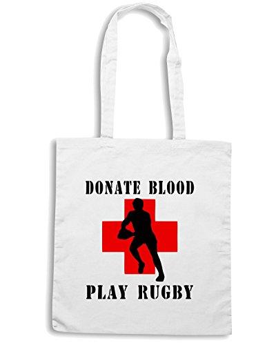 T-Shirtshock - Bolsa para la compra TRUG0006 donate blood play rugby logo Blanco