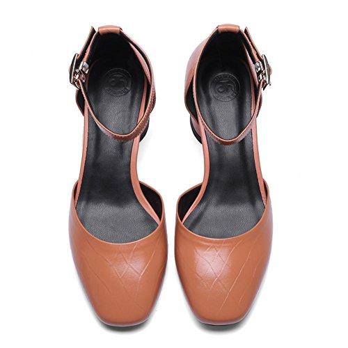 Femmes Sandal Chaussures Pantoufles WSXY-L0212 Boucle de Ceinture Fine Mode Été des Plat Sandales Chaussons,KJJDE caramel