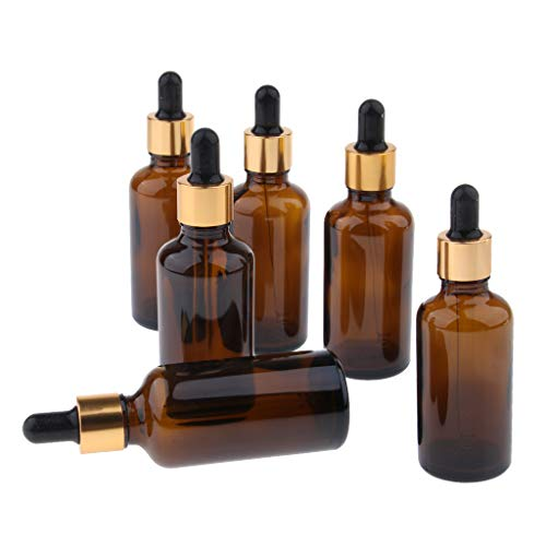 CUTICATE Amber Glass Dropper Bottles with Tapered Droppers - Pack of 6 Pieces - For Salon, Retail Stores and Travel Person Use - 30ml