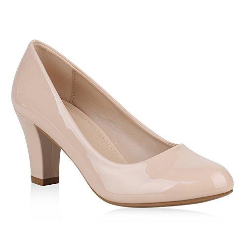 Klassische Damen Pumps Business Schuhe Basic Wildleder-Optik Heels Flandell Creme Bexhill
