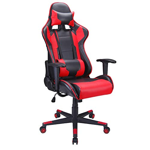 (Polar Aurora Gaming Chair Racing Style High-Back PU Leather Office Chair Computer Desk Chair Executive Ergonomic Style Swivel Chair Headrest Lumbar)