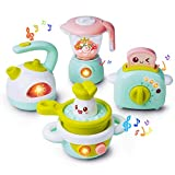 Gizmovine Play Kitchen Accessories, 4PCs Mini Simulation Musical Kitchen Toys for Kids Cooking Set Pretend Play Home Kitchen Appliances for Girls Kids Toddler
