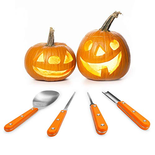 Halloween Pumpkin Carving Kit, Heavy Duty Stainless Steel Pumpkin Tools with 10 kinds of Halloween Expression Stencils for Halloween Decoration, Easily DIY Halloween Pumpkin Jack-O-Lantern(4 Pieces)