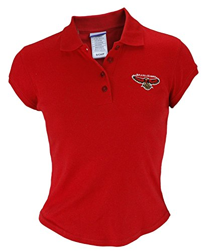 (Atlanta Hawks NBA Junior Womens Cotton Polo Shirt, Red)