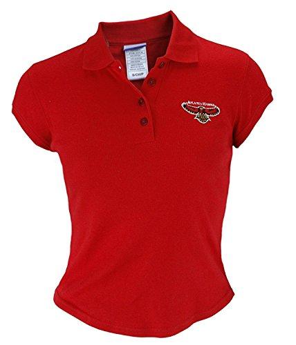 Atlanta Hawks NBA Junior Womens Cotton Polo Shirt, Red