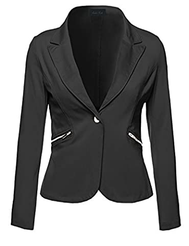 Business Office Wear Long Sleeve One Button Fly Blazer Black L Size - Button Fly Suit