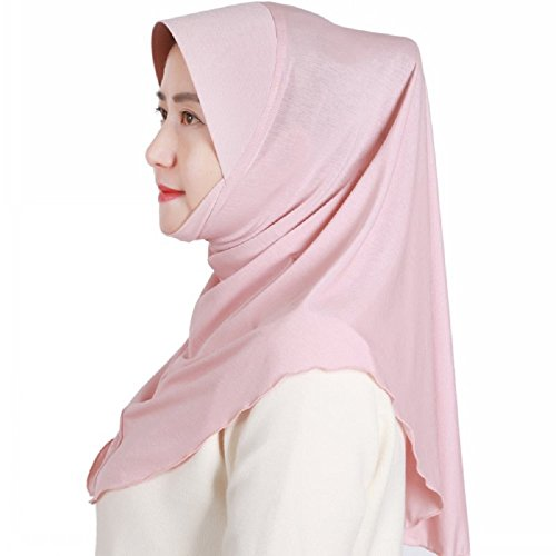 Muslim Slub Cotton Half Hard Brim Hat Solid Color Instant Hijab (Pink)