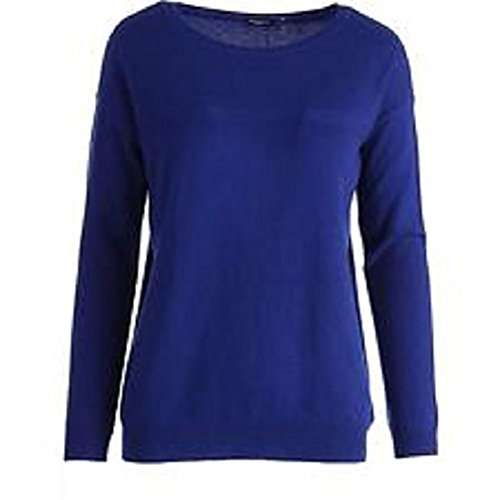 Magaschoni Womens Cashmere Long Sleeves Sweater, Blue - Large