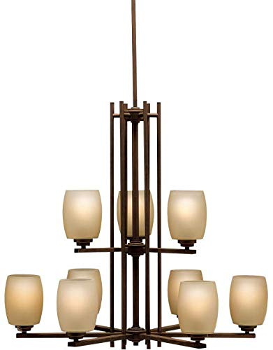 - Kichler 1897OZ Large Two-Tier Chandelier Lighting, Bronze 9-Light (30