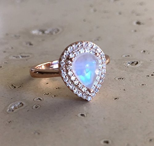 moonstone engagement ring rose gold promise ring halo pear moonstone ring rainbow moonstone - Moonstone Wedding Rings