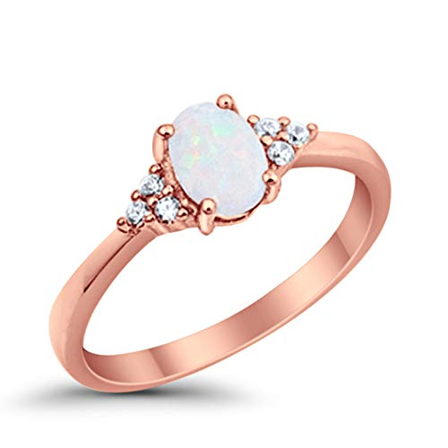 925 Sterling Silver Oval Cut Created White Opal Ring Rose Tone Rhodium Plated Round Clear CZ, Size-10