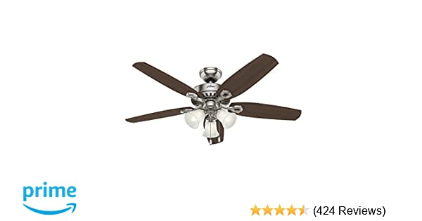 Hunter 53237 builder plus 52 inch ceiling fan with five brazilian hunter 53237 builder plus 52 inch ceiling fan with five brazilian cherryharvest mahogany blades and swirled marble glass light kit brushed nickel aloadofball Images