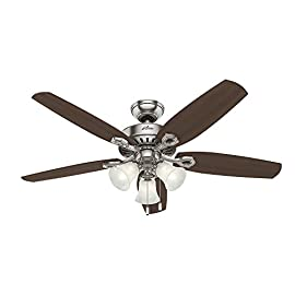 "Hunter Indoor Ceiling Fan, with pull chain control - Builder Plus 52 inch, Brushed Nickel, 53237 4 <p>Builder plus, 52"", brushed nickel, ceiling fan, with 5 Brazilian Cherry/harvest mahogany blades & swirled marble glass, whisper wind motor, installers choice 3 position mounting system, 13 degree blade pitch, uses three 60W candelabra bulbs, included, can be installed without light kit, dust armor blade coating repels dust build up, limited lifetime warranty. Designed for large rooms up to 485 square feet and equipped with Installer's Choice 3 position mounting system for standard Can be installed with or without 180 watt 3 light fixture (3 60 watt candelabra bulbs included).An excellent choice for use in the home or office Whisper wind motor; Reversible motor allows you to change the direction of your fan from downdraft mode during the summer to updraft mode during the winter Exclusive Hunter motor technology and hanging system that ensure your fan will remain quiet for Life and wobble free; For indoor use only, Installer's Choice 3 position mounting system allows for standard, low or angled mounting Three fan speeds (high, medium, low) and reversible airflow function provide customized comfort year round Included pull chain allows for quick and easy on/off and speed adjustments Includes 3 light fitter with Swirled Marble glass, 3 60W Candelabra Incandescent bulbs included Limited Lifetime Motor Warranty is backed by the only company with over 126 years in the fan business Manufactured in China</p>"