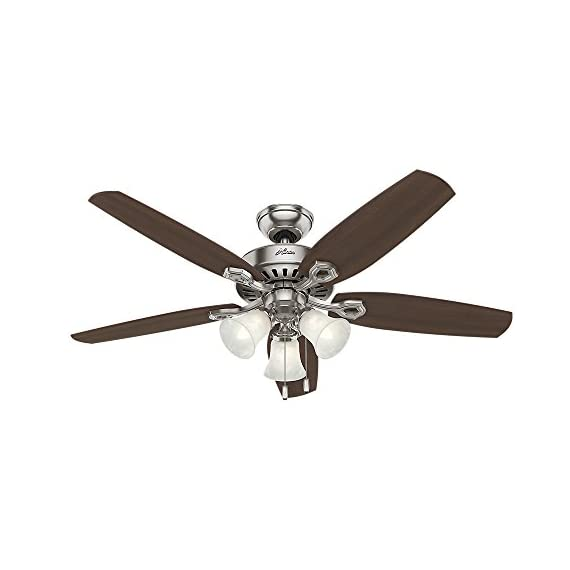 Hunter Indoor Ceiling Fan, with pull chain control - Builder Plus 52 inch, Brushed Nickel, 53237 1 Designed for large rooms up to 485 square feet and equipped with Installer's Choice 3 position mounting system for standard Can be installed with or without 180 watt three light fixture (3 60 watt candelabra bulbs included).An excellent choice for use in the home or office Whisper wind motor. Reversible motor allows you to change the direction of your fan from downdraft mode during the summer to updraft mode during the winter Exclusive Hunter motor technology and hanging system that ensure your fan will remain quiet for Life and wobble free. For indoor use only, Installer's Choice three position mounting system allows for standard, low or angled mounting