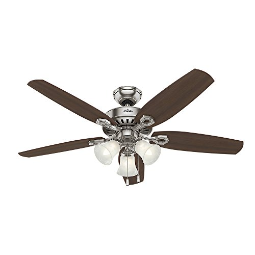Hunter Indoor Ceiling Fan, with pull chain control - Builder Plus 52 inch, Brushed Nickel, 53237