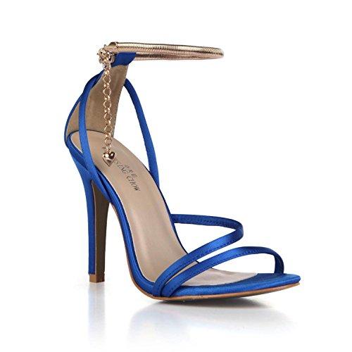 Faux Zapatos de Básicas Boda toe 10 Peep Cómodas Azul Seda Suela verano Tacones Sandalias mujeres Bombas Colgante CM de Goma Perlas de las Altos 4U de Mejor Correas del qvwCE44