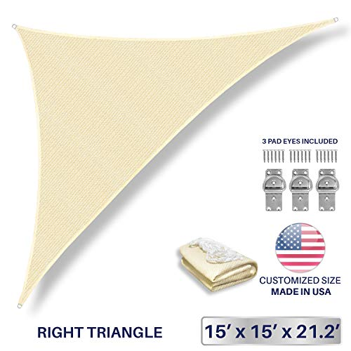 Windscreen4less 15 x 15 x 21.2 Triangle Sun Shade Sail – Beige with White Strips Durable UV Shelter Canopy for Patio Outdoor Backyard Included Free Pad Eyes – Custom Size 3 Year Warranty