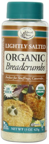 Edward & Sons Organic Low Sodium Breadcrumbs, Lightly Salted, 15-Ounce Canisters (Pack of 6)