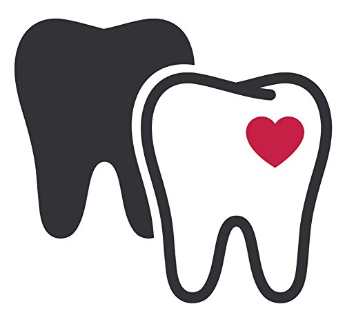 Dentist Tooth with Heart Cavity and Shadow Vinyl Decal Sticker (12