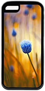 Blue Flower Theme Case for IPhone 5C PC Material Black