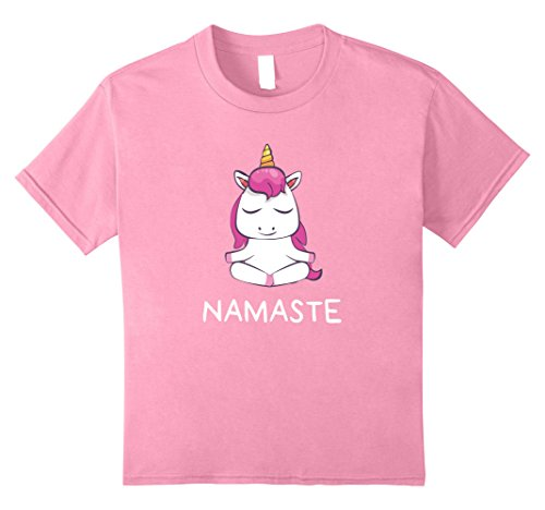 Kids Cute Namaste Yoga Unicorn T-Shirt 10 Pink