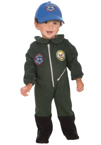 US Navy Top Gun Fleece Flight Suit Costume, Green, Infant