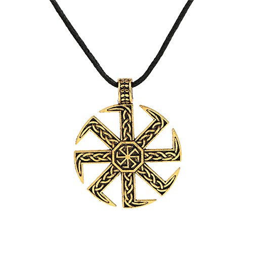 Vintage Norse Viking Irish Knot Slavic Kolovrat Sun Wheel Pendant Necklace Jewelry (Antique Gold) (Sun Wheel Pendant)