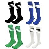 Teens Soccer Socks 4 Pack Boys Girls Cotton Knee Long Team Socks Children Sport Socks