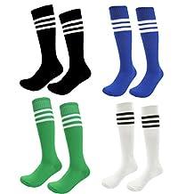 Teens Soccer Socks 4 Pack Boys Girls Cotton Knee Long Team Socks Children Sport Socks (4-8 Years, Rainbow3)