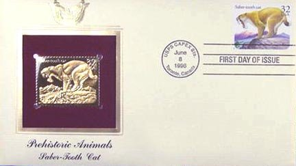 (1995 22k Gold First Day of Issue Prehistoric Animals Saber-Tooth Cat)