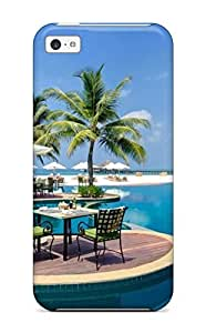 Zheng caseDefender Case For Iphone 5c, Palm Trees Tables And White Parasols On The Edge Of A Pool Pattern