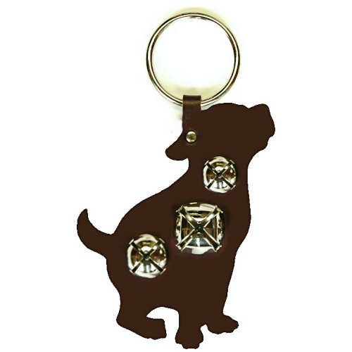(New Silver Jingle Bell Dark Brown Puppy Dog Leather Door)