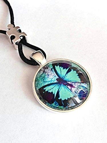Autism Butterfly Necklace Autism Mom Jewelry Puzzle Bead Glass Domed Pendant B2 ()