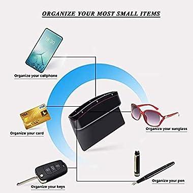 Lukzer 1 PC Leather PU Car Console Side Storage Organizer Seat Gap Filler Pockets Catch Caddy (Black) 9