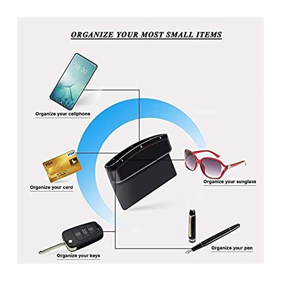 Lukzer 1 PC Leather PU Car Console Side Storage Organizer Seat Gap Filler Pockets Catch Caddy (Black) 4