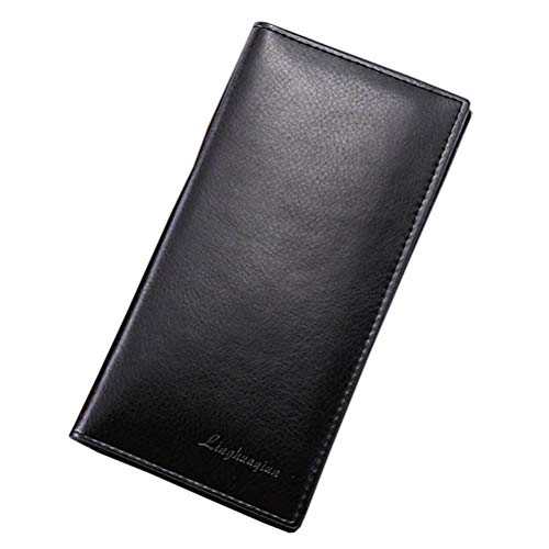 Tall Wallet Litetao Concise PU Huge Capacity Purse ID Credit Card Holder Gift (Black) ()
