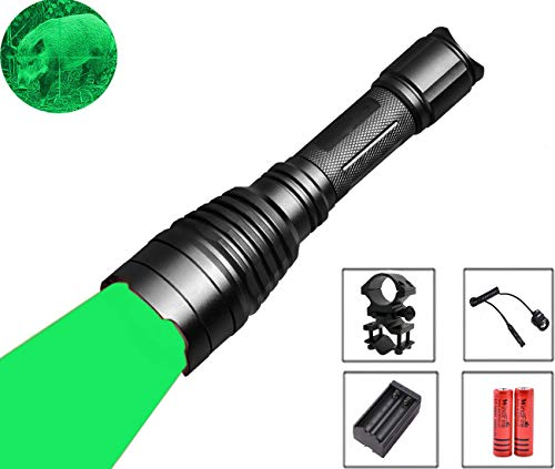 WINDFIRE 350 Lumens Green Led Hunting Flashlight 250 Yard Long Range Waterproof LED Light Torch for Hog Coyote and Varmint Hunting with Barrel Mount Bracket, Remote Pressure Switch, 18650 Batteries