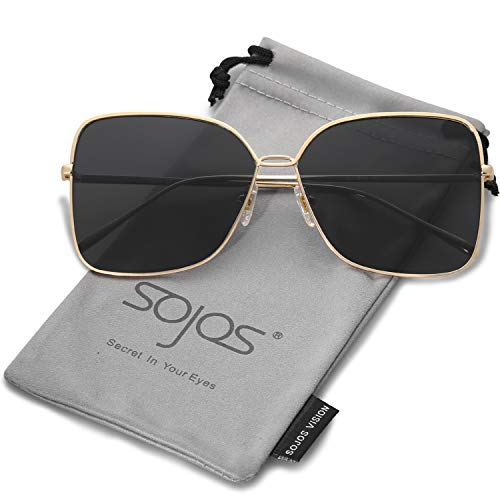SOJOS Fashion Oversized Square Sunglasses for Women Flat Mirrored Lens SJ1082 with Gold Frame/Grey ()