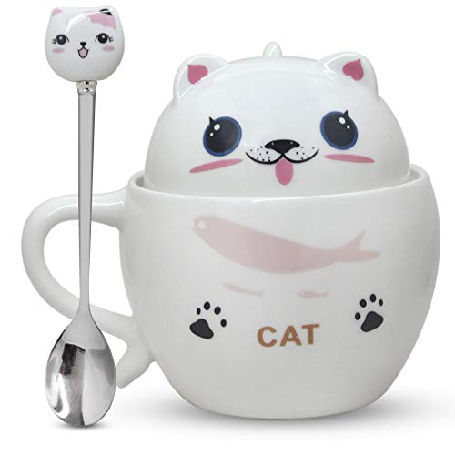 Notrefly Cat Mug With Lid And Lovely Stainless Steel Spoon ,Ceramic Funny Cat Face Coffee Mug Novelty Cat Tea Cup Gift For Crazy Cat Lady Lovers Women And Girls, 11oz