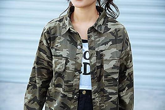 Abrigos Moda Mujer Elegante Camuflaje Chaqueta Amantes Street Style Camisa Moda Completi Holgada Tendencia Manga Larga Camisa Hombre Y Mujer (Color : Verde, Size : Size): Amazon.es: Ropa y accesorios