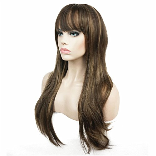 Aimole Women's Wig Long Straight Layered Wig Brown with Blonde Highlights Synthetic Full Wigs 24 Inches